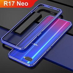 Custodia Lusso Alluminio Laterale per Oppo R17 Neo Blu