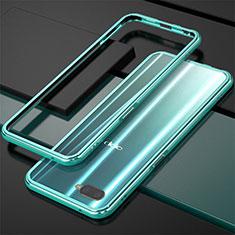 Custodia Lusso Alluminio Laterale per Oppo RX17 Neo Ciano
