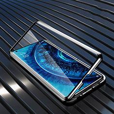 Custodia Lusso Alluminio Laterale Specchio 360 Gradi Cover A01 per Oppo Find X2 Pro Nero