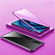 Custodia Lusso Alluminio Laterale Specchio 360 Gradi Cover A02 per Oppo Find X2 Pro Viola