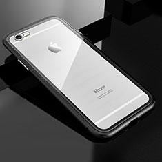 Custodia Lusso Alluminio Laterale Specchio 360 Gradi Cover M01 per Apple iPhone 6S Nero
