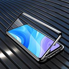 Custodia Lusso Alluminio Laterale Specchio 360 Gradi Cover M01 per Huawei Enjoy 10 Plus Nero