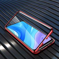 Custodia Lusso Alluminio Laterale Specchio 360 Gradi Cover M01 per Huawei Enjoy 10 Plus Rosso