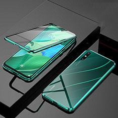 Custodia Lusso Alluminio Laterale Specchio 360 Gradi Cover M01 per Huawei Enjoy 10e Verde