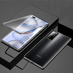 Custodia Lusso Alluminio Laterale Specchio 360 Gradi Cover M01 per Huawei Honor 30 Pro+ Plus Nero