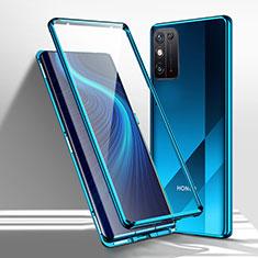Custodia Lusso Alluminio Laterale Specchio 360 Gradi Cover M01 per Huawei Honor X10 Max 5G Blu