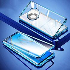 Custodia Lusso Alluminio Laterale Specchio 360 Gradi Cover M01 per Huawei Mate 40 Blu