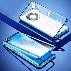 Custodia Lusso Alluminio Laterale Specchio 360 Gradi Cover M01 per Huawei Mate 40 Pro+ Plus Blu