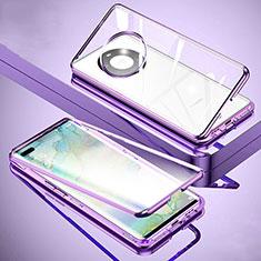 Custodia Lusso Alluminio Laterale Specchio 360 Gradi Cover M01 per Huawei Mate 40 Pro+ Plus Viola