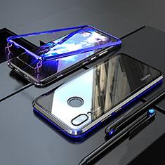 Custodia Lusso Alluminio Laterale Specchio 360 Gradi Cover M01 per Huawei P Smart+ Plus Blu