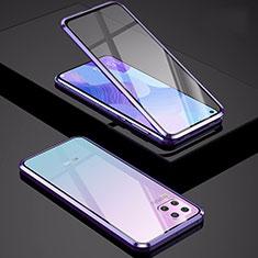 Custodia Lusso Alluminio Laterale Specchio 360 Gradi Cover M01 per Huawei P40 Lite Viola