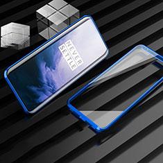Custodia Lusso Alluminio Laterale Specchio 360 Gradi Cover M01 per OnePlus 7T Pro Blu