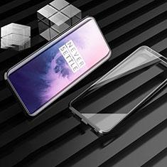 Custodia Lusso Alluminio Laterale Specchio 360 Gradi Cover M01 per OnePlus 7T Pro Nero