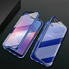 Custodia Lusso Alluminio Laterale Specchio 360 Gradi Cover M01 per Oppo A12e Blu
