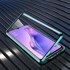 Custodia Lusso Alluminio Laterale Specchio 360 Gradi Cover M01 per Oppo A31 Verde