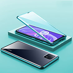 Custodia Lusso Alluminio Laterale Specchio 360 Gradi Cover M01 per Oppo A72 5G Verde