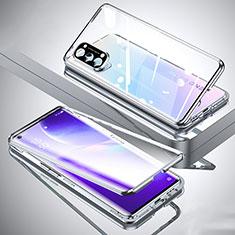 Custodia Lusso Alluminio Laterale Specchio 360 Gradi Cover M01 per Oppo Reno5 Pro 5G Argento