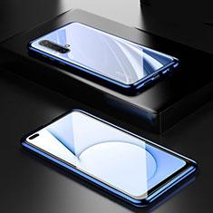 Custodia Lusso Alluminio Laterale Specchio 360 Gradi Cover M01 per Realme X50m 5G Blu