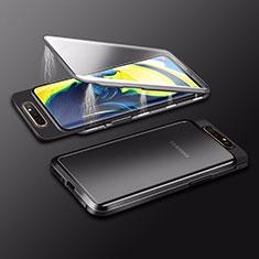 Custodia Lusso Alluminio Laterale Specchio 360 Gradi Cover M01 per Samsung Galaxy A80 Nero