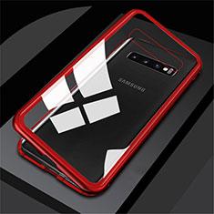 Custodia Lusso Alluminio Laterale Specchio 360 Gradi Cover M01 per Samsung Galaxy S10 Rosso