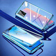 Custodia Lusso Alluminio Laterale Specchio 360 Gradi Cover M01 per Vivo V20 Pro 5G Blu