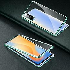 Custodia Lusso Alluminio Laterale Specchio 360 Gradi Cover M01 per Vivo X50 5G Verde