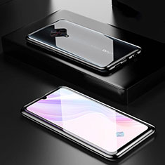 Custodia Lusso Alluminio Laterale Specchio 360 Gradi Cover M01 per Vivo X50 Lite Nero