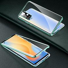 Custodia Lusso Alluminio Laterale Specchio 360 Gradi Cover M01 per Vivo X50 Pro 5G Verde