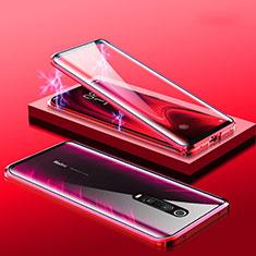 Custodia Lusso Alluminio Laterale Specchio 360 Gradi Cover M01 per Xiaomi Mi 9T Rosso
