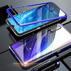 Custodia Lusso Alluminio Laterale Specchio 360 Gradi Cover M01 per Xiaomi Mi A3 Lite Blu