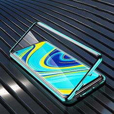 Custodia Lusso Alluminio Laterale Specchio 360 Gradi Cover M01 per Xiaomi Redmi Note 9 Verde