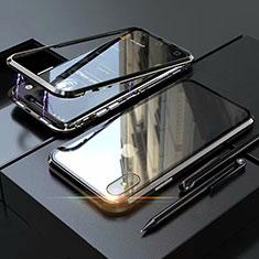 Custodia Lusso Alluminio Laterale Specchio 360 Gradi Cover M02 per Apple iPhone X Nero