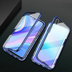 Custodia Lusso Alluminio Laterale Specchio 360 Gradi Cover M02 per Huawei Enjoy 10e Blu