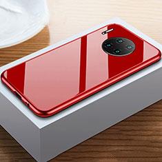 Custodia Lusso Alluminio Laterale Specchio 360 Gradi Cover M02 per Huawei Mate 30 Rosso
