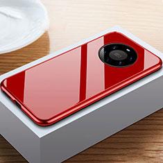 Custodia Lusso Alluminio Laterale Specchio 360 Gradi Cover M02 per Huawei Mate 40 Pro+ Plus Rosso