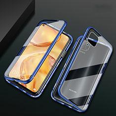 Custodia Lusso Alluminio Laterale Specchio 360 Gradi Cover M02 per Huawei P40 Lite Blu