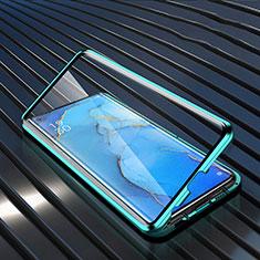 Custodia Lusso Alluminio Laterale Specchio 360 Gradi Cover M02 per Oppo Reno3 Pro Verde