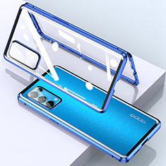 Custodia Lusso Alluminio Laterale Specchio 360 Gradi Cover M02 per Oppo Reno5 Pro 5G Blu