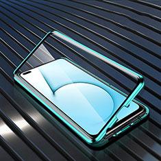 Custodia Lusso Alluminio Laterale Specchio 360 Gradi Cover M02 per Realme X3 SuperZoom Ciano