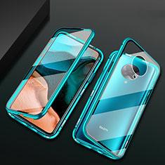 Custodia Lusso Alluminio Laterale Specchio 360 Gradi Cover M02 per Xiaomi Poco F2 Pro Verde