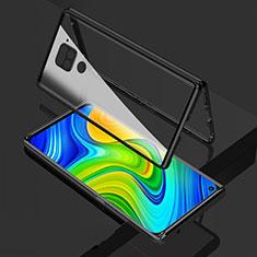 Custodia Lusso Alluminio Laterale Specchio 360 Gradi Cover M02 per Xiaomi Redmi Note 9 Nero