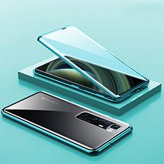 Custodia Lusso Alluminio Laterale Specchio 360 Gradi Cover M03 per Xiaomi Mi 10 Ultra Ciano