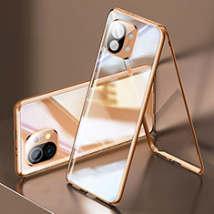 Custodia Lusso Alluminio Laterale Specchio 360 Gradi Cover M03 per Xiaomi Mi 11 5G Oro
