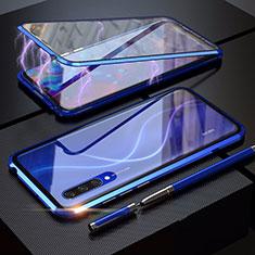 Custodia Lusso Alluminio Laterale Specchio 360 Gradi Cover M03 per Xiaomi Mi A3 Blu