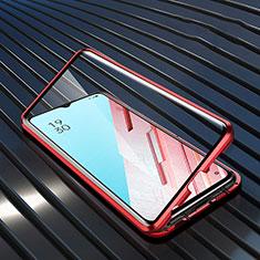 Custodia Lusso Alluminio Laterale Specchio 360 Gradi Cover M04 per Oppo Reno3 Rosso