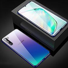 Custodia Lusso Alluminio Laterale Specchio 360 Gradi Cover M04 per Samsung Galaxy Note 10 Blu