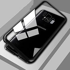 Custodia Lusso Alluminio Laterale Specchio 360 Gradi Cover M04 per Samsung Galaxy S8 Nero
