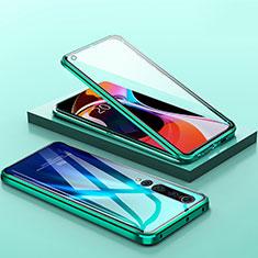Custodia Lusso Alluminio Laterale Specchio 360 Gradi Cover M04 per Xiaomi Mi 10 Verde