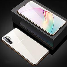 Custodia Lusso Alluminio Laterale Specchio 360 Gradi Cover M05 per Samsung Galaxy Note 10 Plus 5G Oro