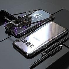 Custodia Lusso Alluminio Laterale Specchio 360 Gradi Cover M05 per Samsung Galaxy S8 Plus Nero
